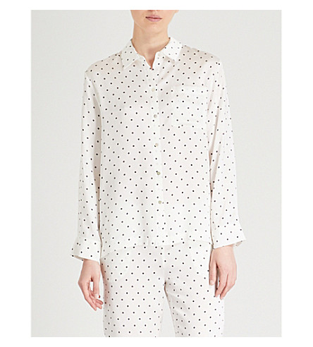 ASCENO Polka dot-print silk-satin pyjama shirt (Jet+black+polka