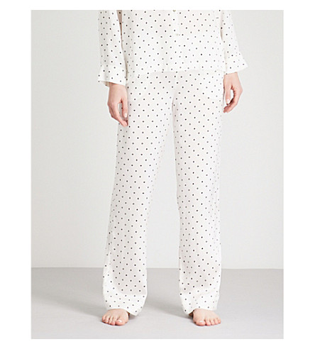 ASCENO Polka dot-print silk-satin pyjama bottoms (Jet+black+polka