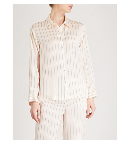 ASCENO Striped silk-satin pyjama shirt (Sand+pinstripe