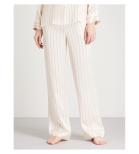 ASCENO Striped silk-satin pyjama bottoms (Sand+pinstripe
