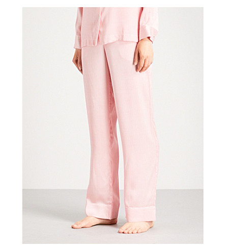 ASCENO Micro-stripe silk-satin pyjama bottoms (Red+micro