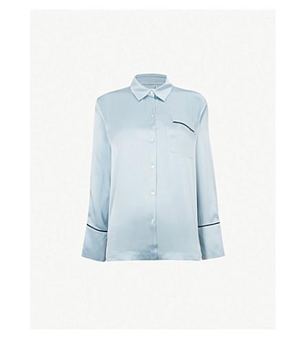 ASCENO Contrast piping silk-satin pyjama top (Powder+blue