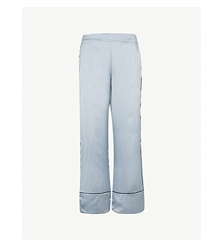 ASCENO Edges silk-satin pyjama bottoms (Powder+blue