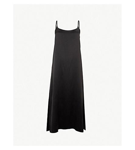 ASCENO Scoop neck silk-satin slip dress (Jet black