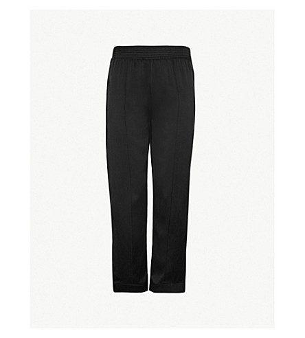 ASCENO Tailored silk-satin pyjama bottoms (Jet+black+white+edged