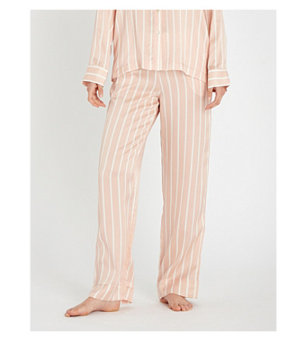 ASCENO 条纹丝缎睡裤 (红白色条纹