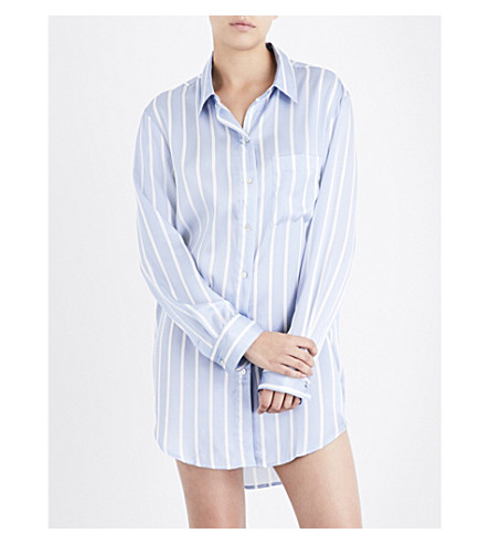 ASCENO Sky stripe silk-satin sleep shirt (Sky+stripe