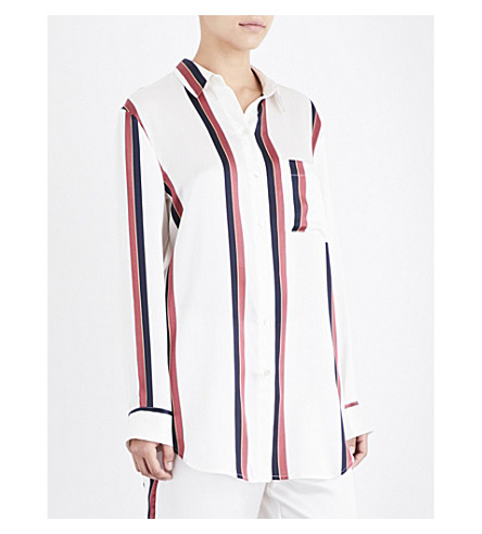 ASCENO Ochre striped silk-satin sleep shirt (Ochre+stripe