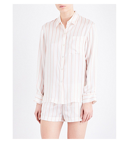 ASCENO Blush Stripe silk-satin pyjama shirt (1285+blush+stripe