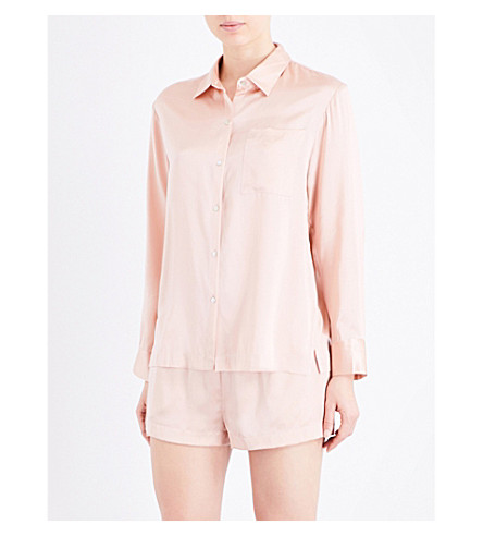ASCENO Pale Blush silk-satin pyjama shirt (1289+pale+blush