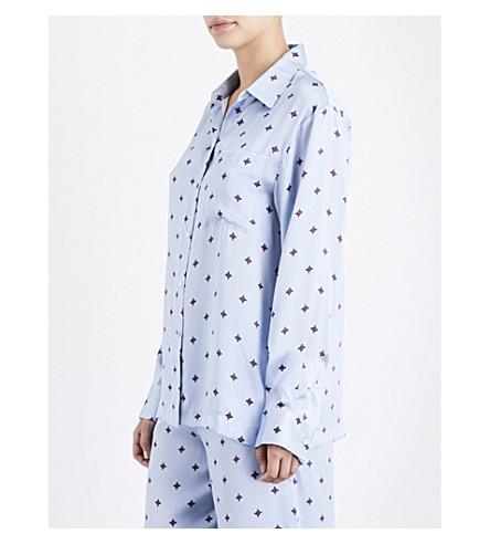 ASCENO Sky Star silk-satin pyjama top (Sky+star