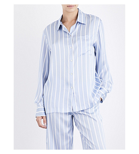 ASCENO Sky stripe silk-satin pyjama top (Sky+stripe