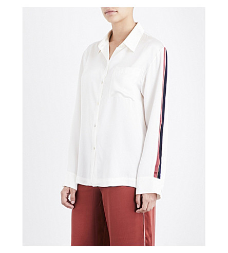 ASCENO Ochre bold-stripe silk-satin pyjama top (Ochre+stripe
