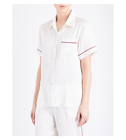 ASCENO Rio Edged silk-satin pyjama shirt (1305+rio+edged