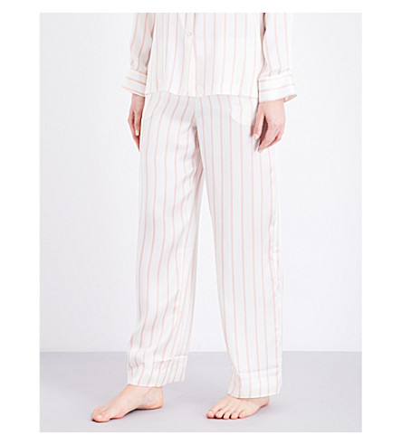 ASCENO Blush Stripe silk-satin pyjama bottoms (1286+blush+stripe
