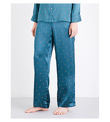 ASCENO Star-print silk pyjama bottoms (Jade+star