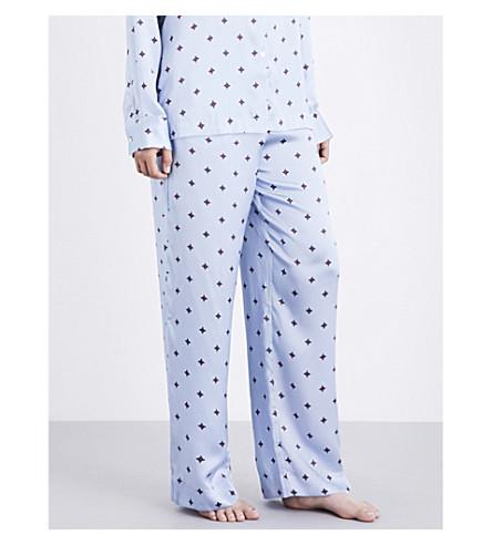 ASCENO Sky star silk-satin pyjama bottoms (Sky+star