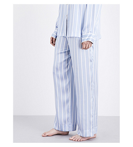 ASCENO Sky stripe silk-satin pyjama bottoms (Sky+stripe
