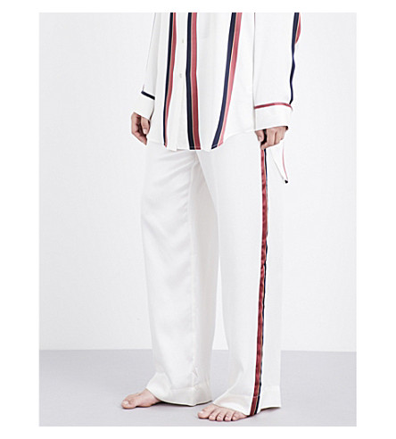 ASCENO Ochre stripe silk-satin pyjama pants (Ochre+stripe