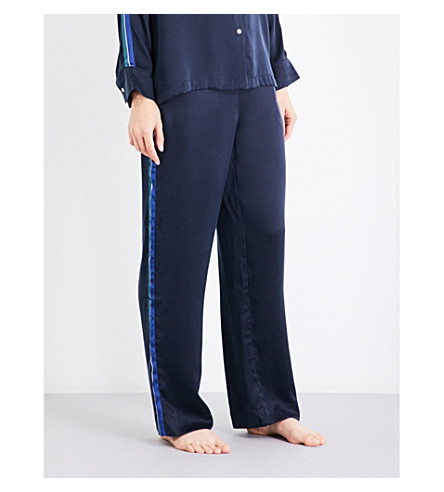 ASCENO Midnight stripe silk-satin pyjama trousers (Midnight