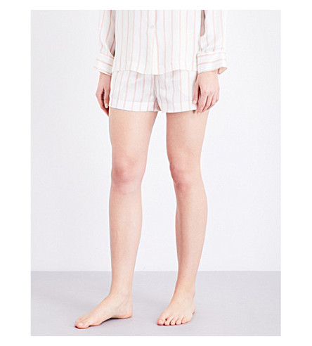 ASCENO Blush Stripe silk-satin pyjama shorts (1287+blush+stripe