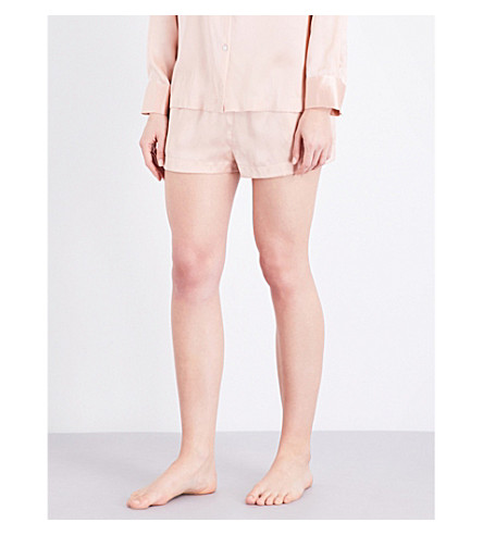 ASCENO Pale Blush silk-satin pyjama shorts (1292+pale+blush