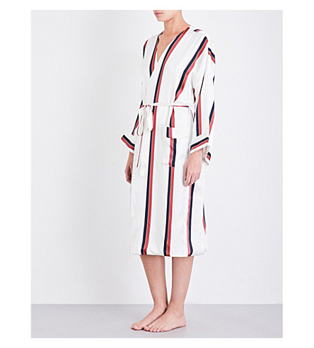 ASCENO Ochre striped silk-satin dressing gown (Ochre+stripe