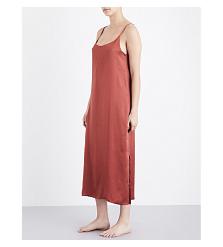 ASCENO Ochre silk-satin slip nightdress (Ochre+rose