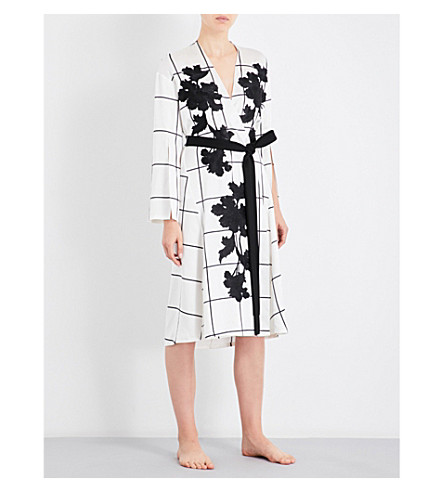 AIMEE Grid-pattern floral-embroidered silk-satin robe (Print grid satin