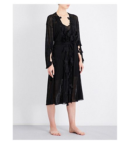 AIMEE Floral-embroidered knitted robe (Black+knitted+grid