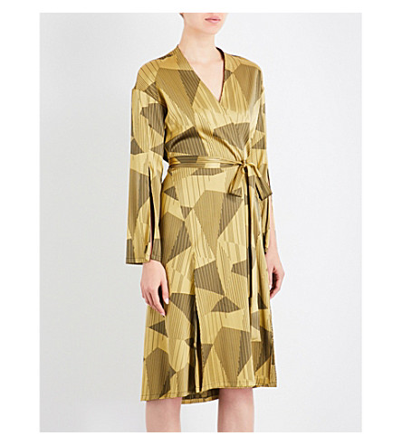 AIMEE Striped jacquard silk-blend robe (Yellow