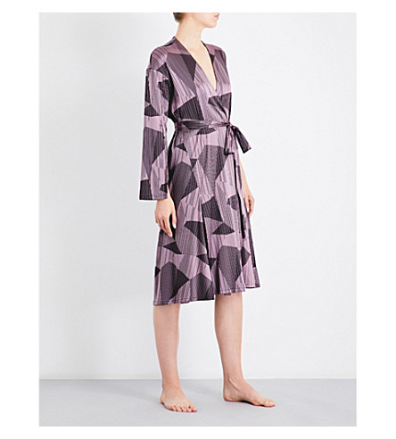 AIMEE Striped jacquard silk-blend robe (Lilac