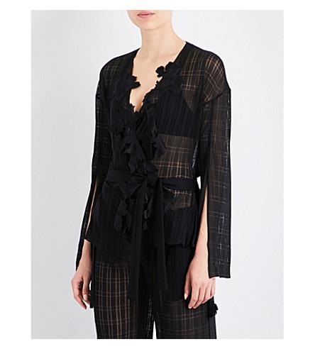 AIMEE Floral-embroidered pyjama jacket (Black+jersey