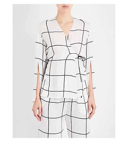 AIMEE Grid-pattern silk pyjama jacket (Print+grid+georgette