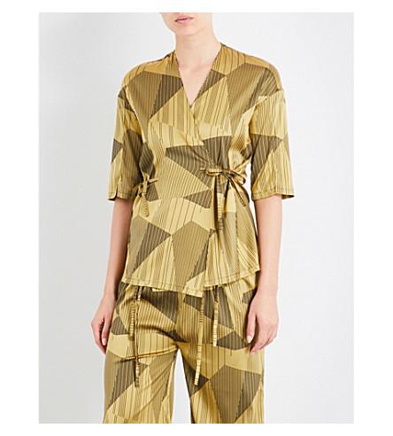 AIMEE Striped jacquard silk-blend pyjama shirt (Yellow