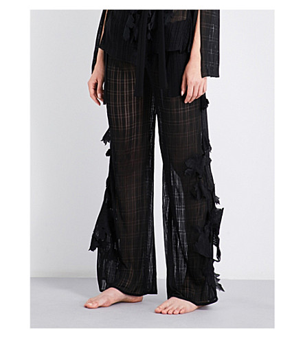 AIMEE Floral-embroidered pyjama trousers (Black+grid+jersey