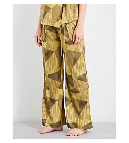 AIMEE Striped jacquard silk-blend pyjama trousers (Yellow