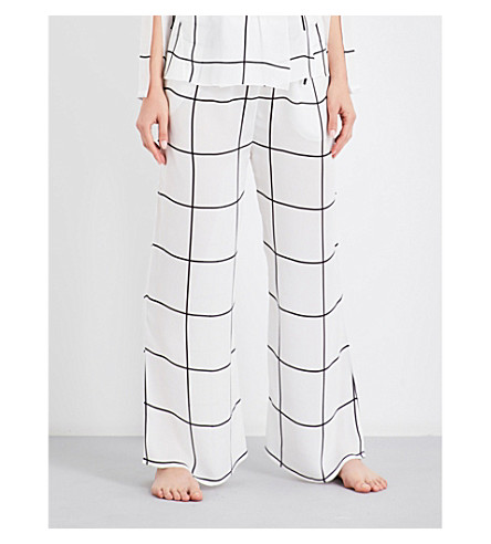 AIMEE Grid-pattern silk pyjama bottoms (Print+grid+georgette