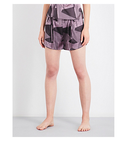 AIMEE Striped jacquard silk-blend pyjama shorts (Lilac