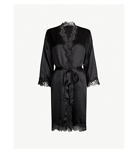 SAINTED SISTERS Scarlett silk-satin robe (Black