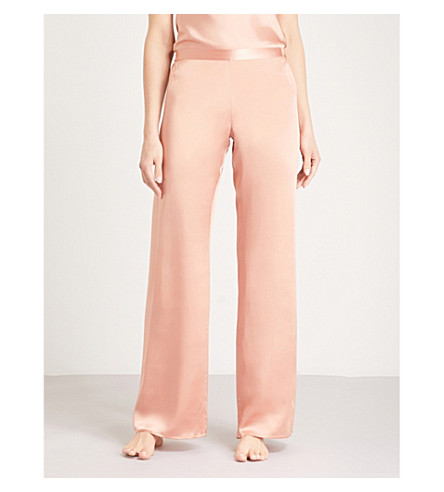 MARJOLAINE Soie Unie silk-satin pyjama bottoms (Lotus