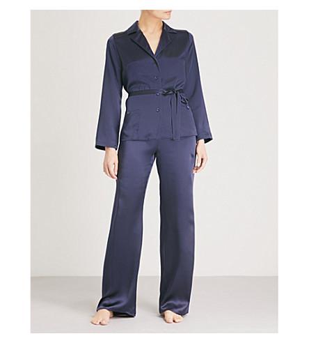MARJOLAINE Soie Unie silk-satin pyjama set (Encre