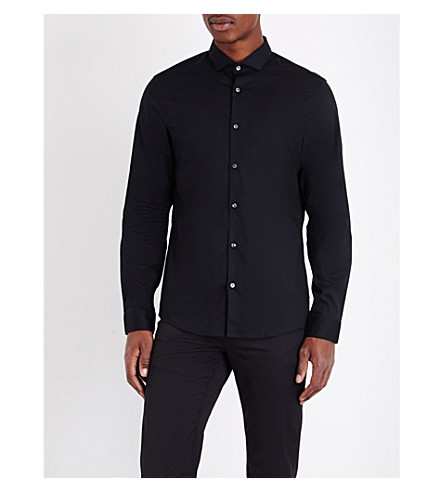 MICHAEL KORS Slim-fit stretch-cotton shirt (Black