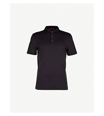 MICHAEL KORS Short-sleeved cotton-jersey polo shirt (Black