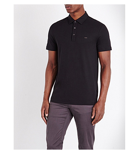 MICHAEL KORS Short-sleeved cotton-jersey polo shirt (Black