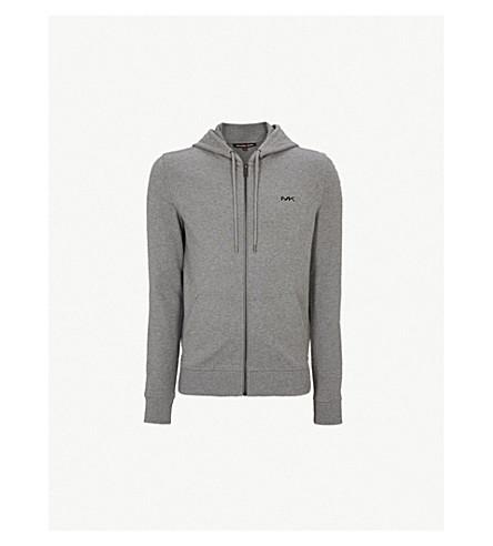 MICHAEL KORS Zip-up stretch-cotton hoody (Ash+melange