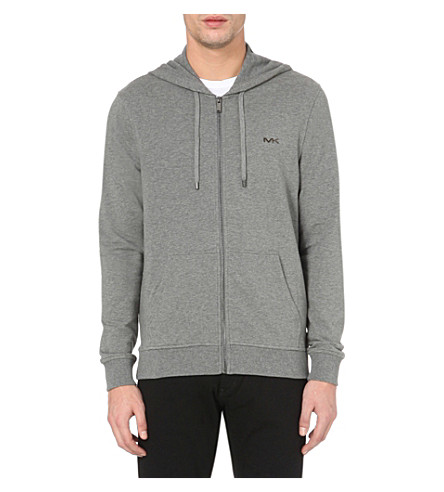 MICHAEL KORS Zip-up stretch-cotton hoody (Ash+melange