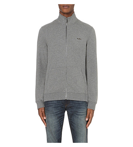 MICHAEL KORS Funnel-neck stretch-cotton jacket (Ash+melange