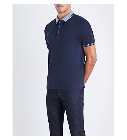 MICHAEL KORS Greenwich logo-embroidered cotton-jersey polo shirt (Midnight