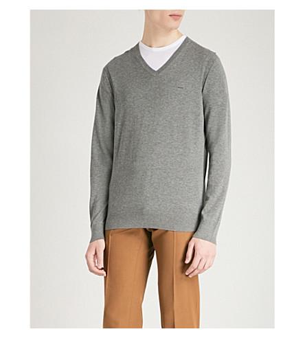 MICHAEL KORS V-neck cotton-knitted jumper (Ash+melange